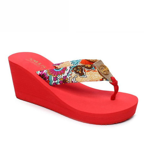 f28ee81b22ea ... Bohemia Clip Toes Stylish Ladies Slippers Red Summer Platform Sandals