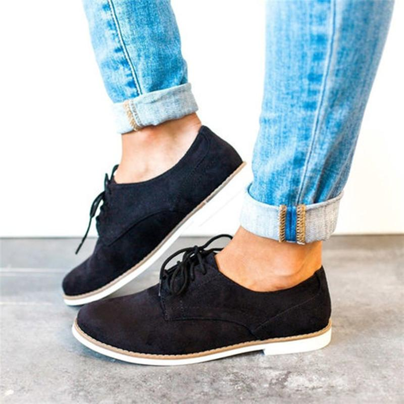 Comfort Low Heel Oxford Lace-up Daily Loafers - fashionshoeshouse