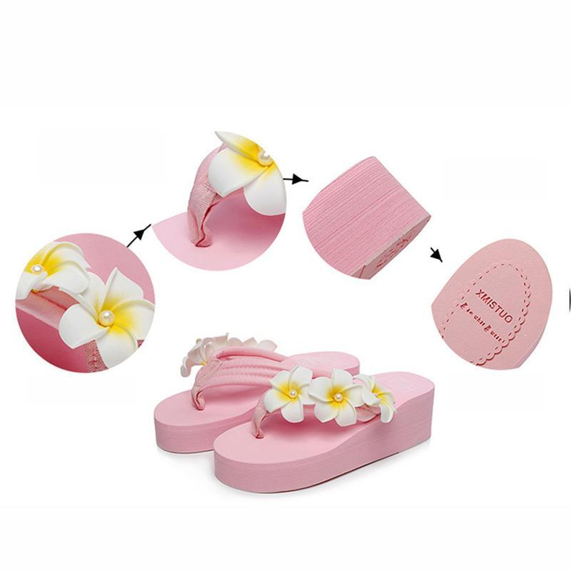 Cotton Laces Flowers Faux Pearl Pink Slippers For Women - fashionshoeshouse