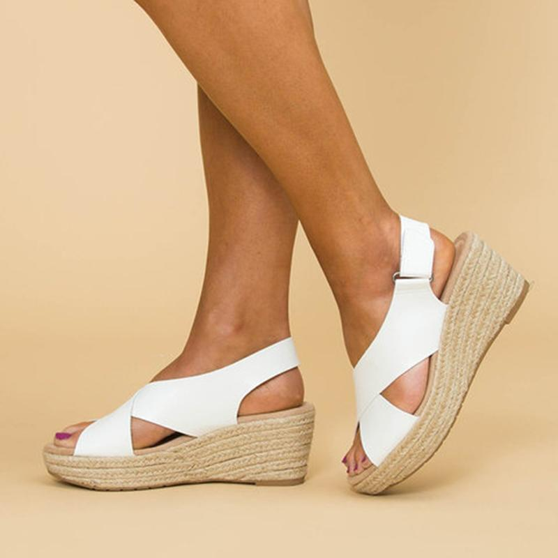 Crossed Strap Peep Toe Magic Tape Wedge Sandals For Women Summer - fashionshoeshouse