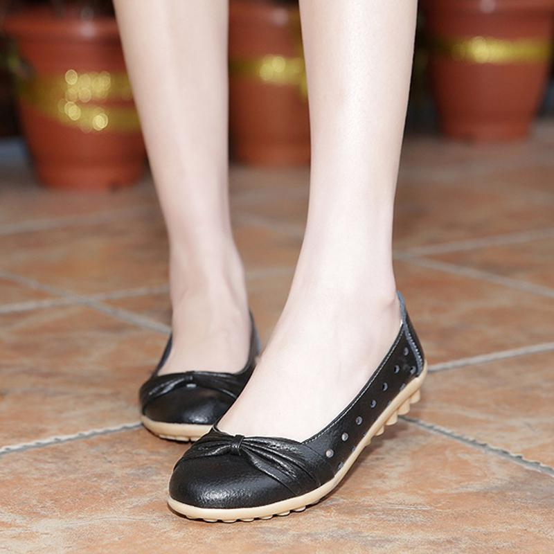 Cute Bowknot Women Loafers Hollow Out Breathable Design - fashionshoeshouse
