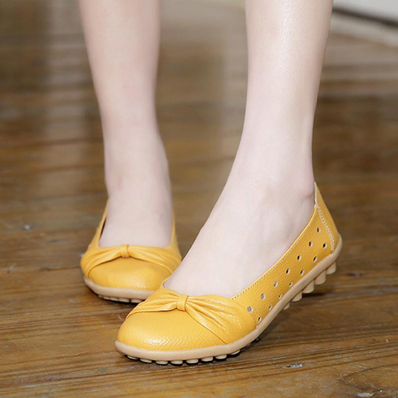 Cute Bowknot Hollow Out Breathable Flat Shoes for Women - fashionshoeshouse