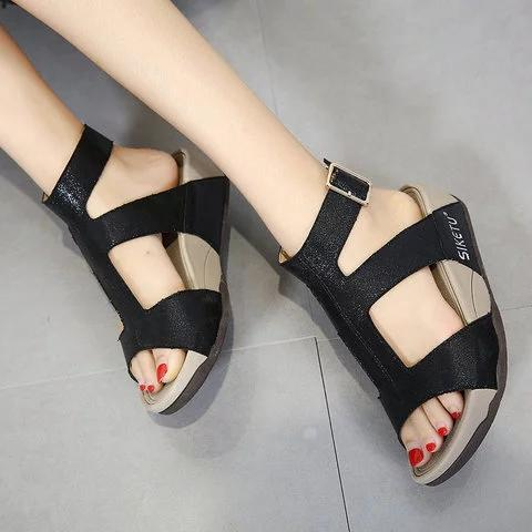 Women Ankle Strap Adjustable Buckle Wedge Sandals - fashionshoeshouse