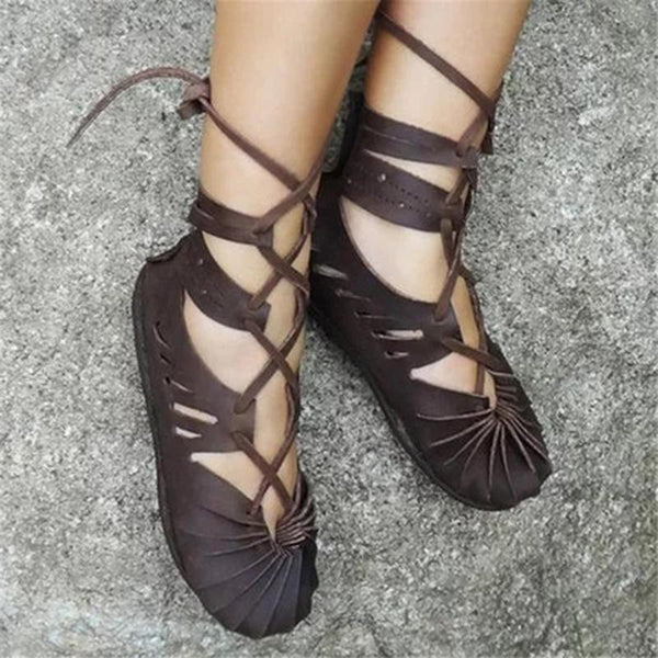 Women Casual Lace-up Sandals Plus Size Celtic Shoes - fashionshoeshouse