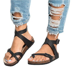 Cross Band Clip Toe Buckle Sandals - fashionshoeshouse