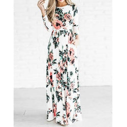 Floral Print Maxi Dress - fashionshoeshouse