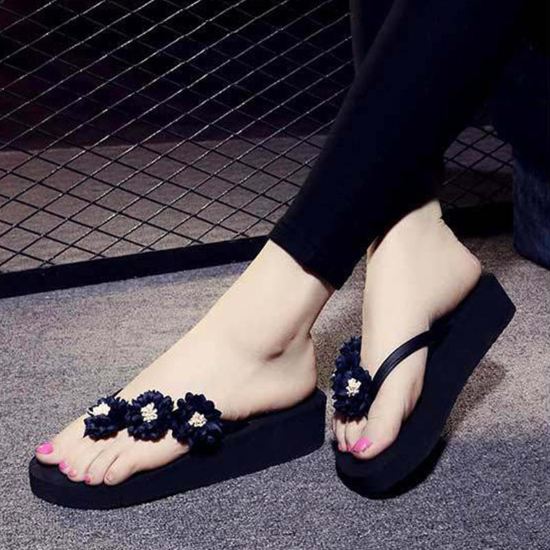 Flowers Decorated Low Heel Summer Gray Slippers For Women - fashionshoeshouse