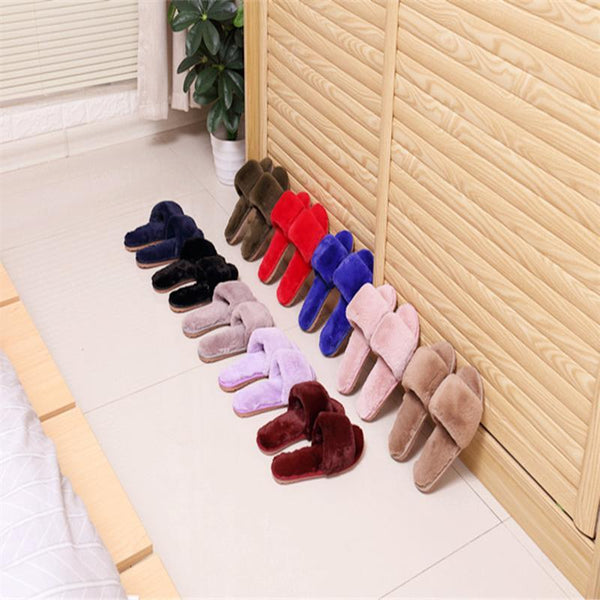 Fur Keep Warm Low Heel House Slippers For Women - fashionshoeshouse