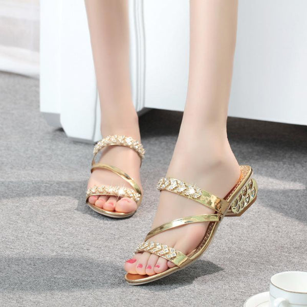 Gold Fashion Rhinestone Medium Heel Slippers For Women - fashionshoeshouse