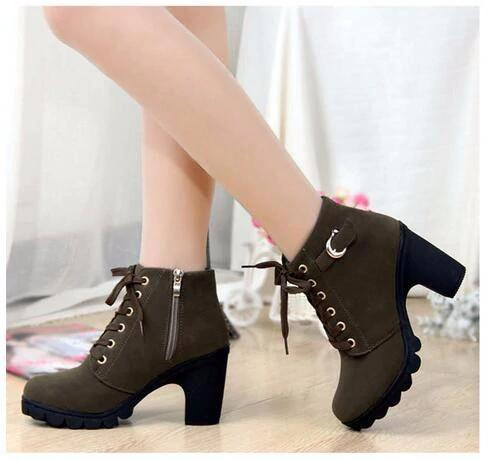 2020 New Autumn Winter Ladies Boots High Quality Lace Up Women Ankle Boots - fashionshoeshouse