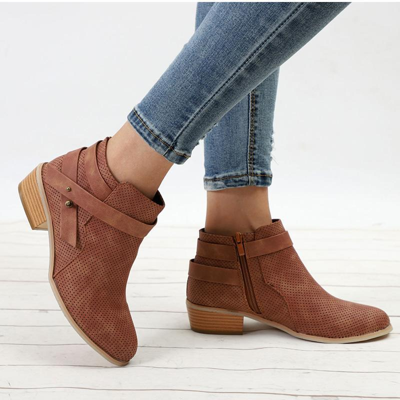 Plus Size Platform Chunky Heel Ankle Boots Zipper Strap Wood Low Heels - fashionshoeshouse