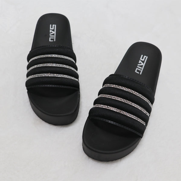 Women Sparkling Rhinestone Summer Slide Platform Sandals