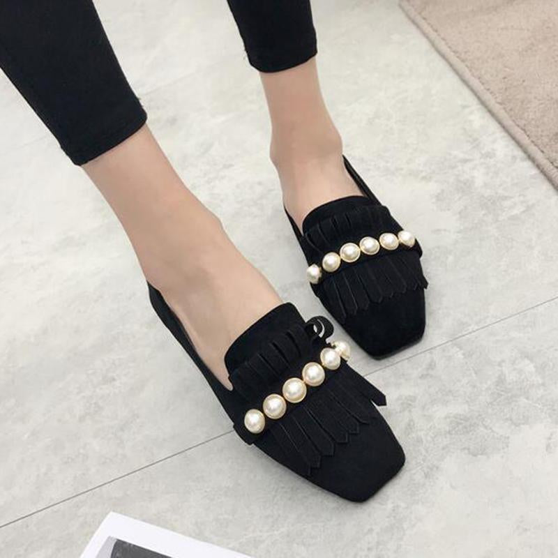 Classic Black Tassels Loafers for Women Comfort Slip-on Driving Shoes - fashionshoeshouse
