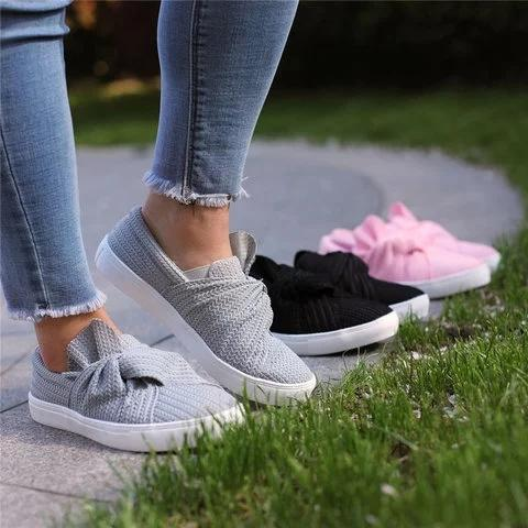 Women Knitted Bow-knot Twist Flat Slip On Loafers - fashionshoeshouse