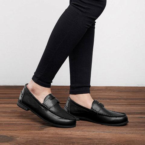 Vintage Leather Splicing Low Heel Slip On Loafers - fashionshoeshouse