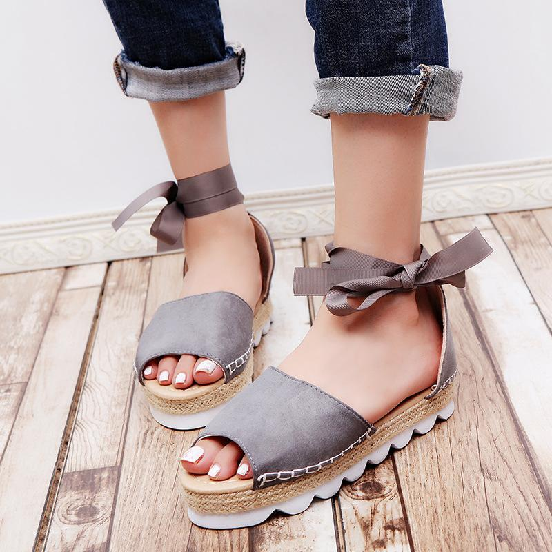 Lace up Cute Peep Toe Women Sandals Breathable Summer Sandals - fashionshoeshouse
