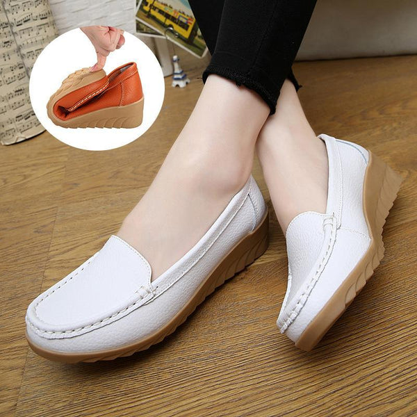 Non-slip White Leather Moccasins Soft Loafers for Women - fashionshoeshouse