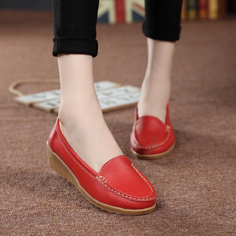 Medium Heeled Non-slip White Flats Soft Flat Shoes for Driving - fashionshoeshouse