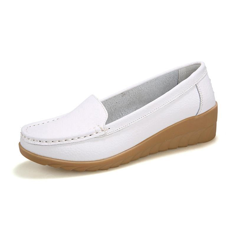 469c6404208 Non-slip White Leather Moccasins Soft Loafers for Women - fashionshoeshouse