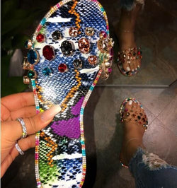 New Fashion Bling Rhinestone Shiny Flat Beach Sandals - fashionshoeshouse