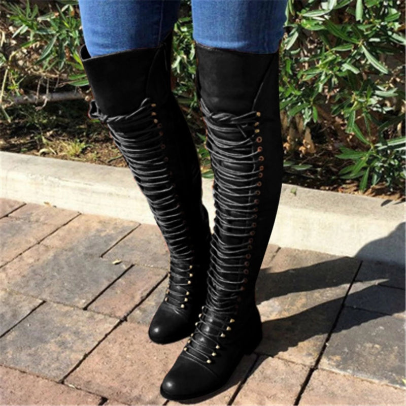 Women Combat Boots Lace Up Over The Knee Boots