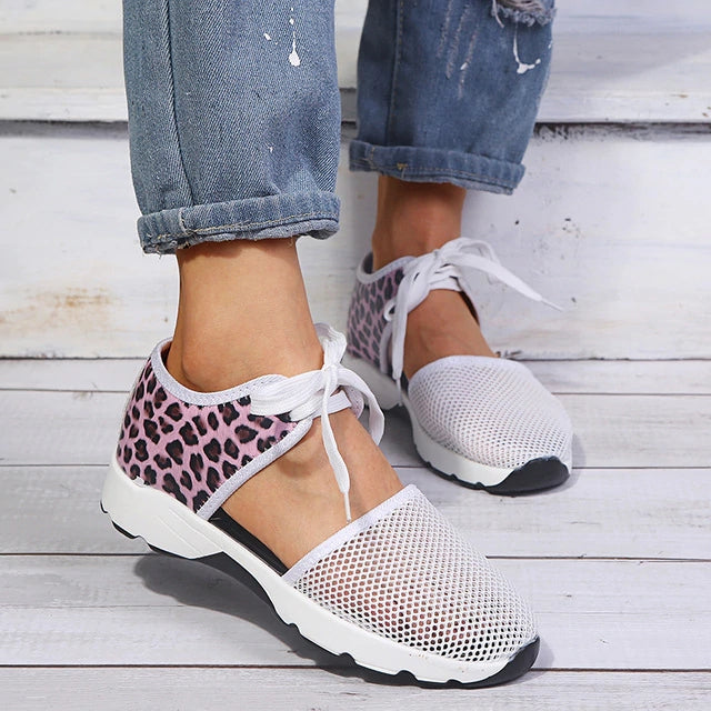 Wemen Summer Hollow Out Lace Up Platform Sneakers