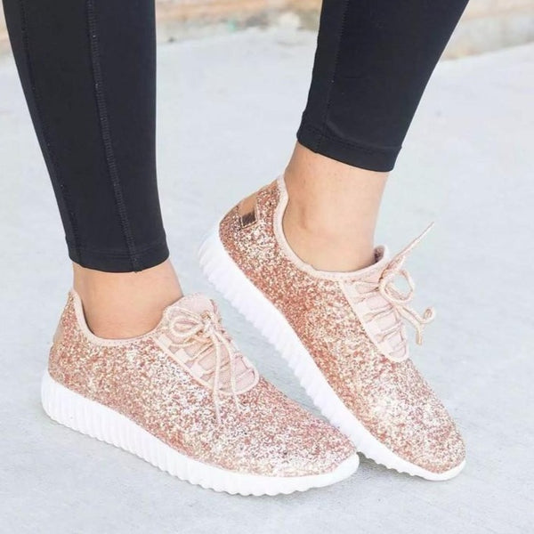 Women Comfy Shoes Plus Size Bling Sparkling Glitter Sneakers - fashionshoeshouse