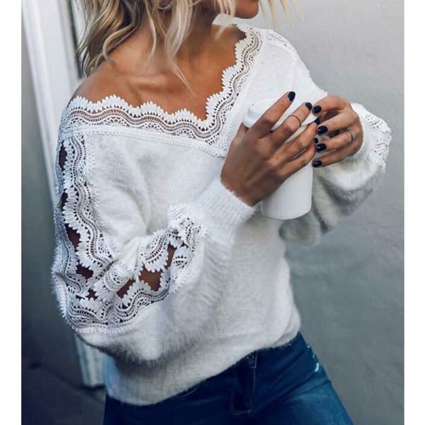 Women's sexy v-neck knit sweater lace hollow long sleeve pullover blouse tops
