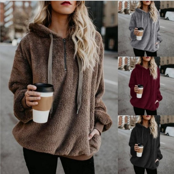 Women's solid sherpa fuzzy pullover hoodie winter warm long sleeve coat