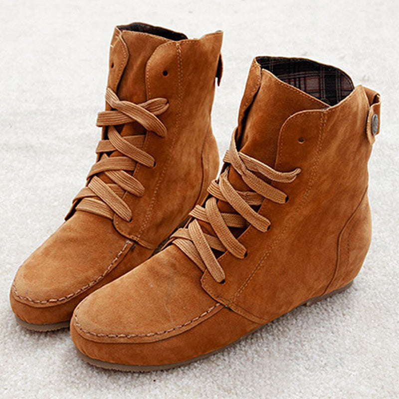 Round Toe Suede Lace-Up Boots