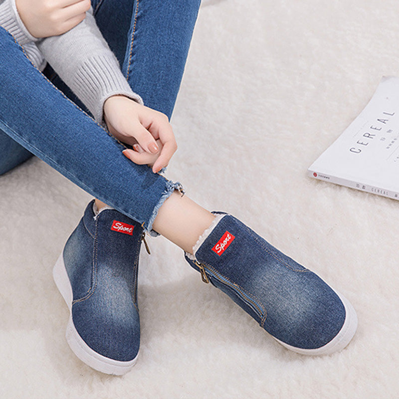 Women Winter Denim Fur Warm Platform Ankle Boots