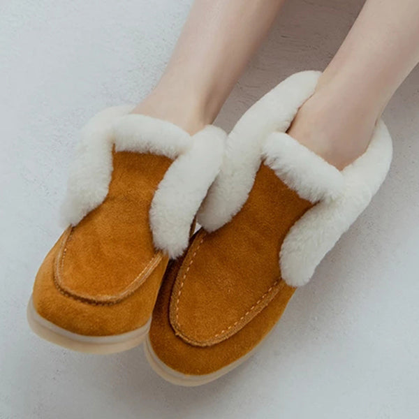 Women's flat warm fur lining slip on ankle snow boots