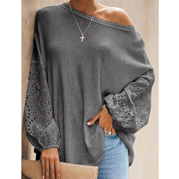 Women's lace hollow out long sleeve cold shoulder blouse pullover fall/winter tops