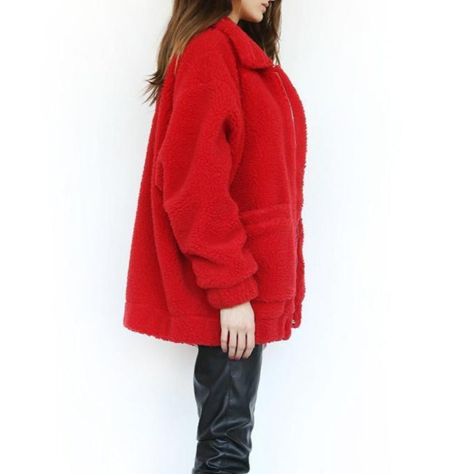 Winter warm faux fur oversize coat - fashionshoeshouse