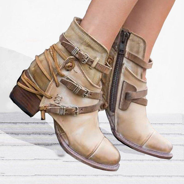 Winter Warm Buckle Strap Casual Thick Heel Boots - fashionshoeshouse