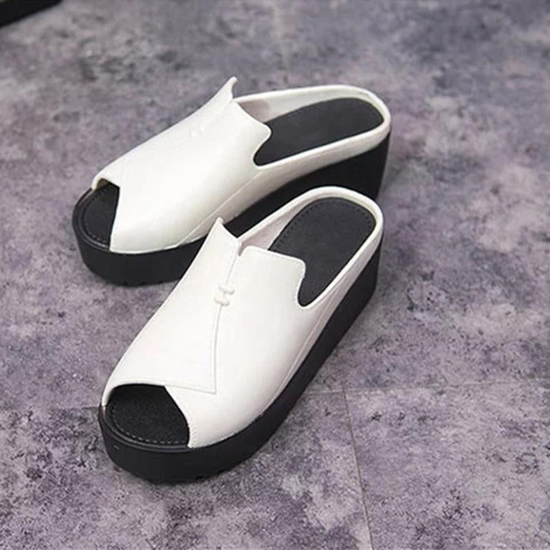 Peep Toe Platform Slide PU Sandals - fashionshoeshouse