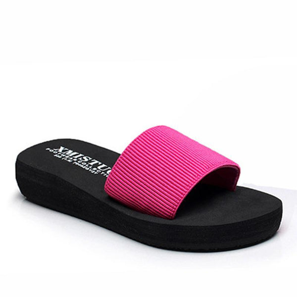 Pink Elastic Band Low Heel Beach Slippers For Women - fashionshoeshouse