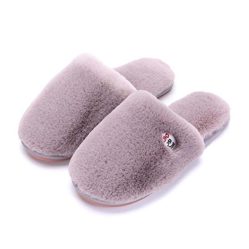 Plush Slippers Winter Warm Indoor Ladies Pink Slippers - fashionshoeshouse