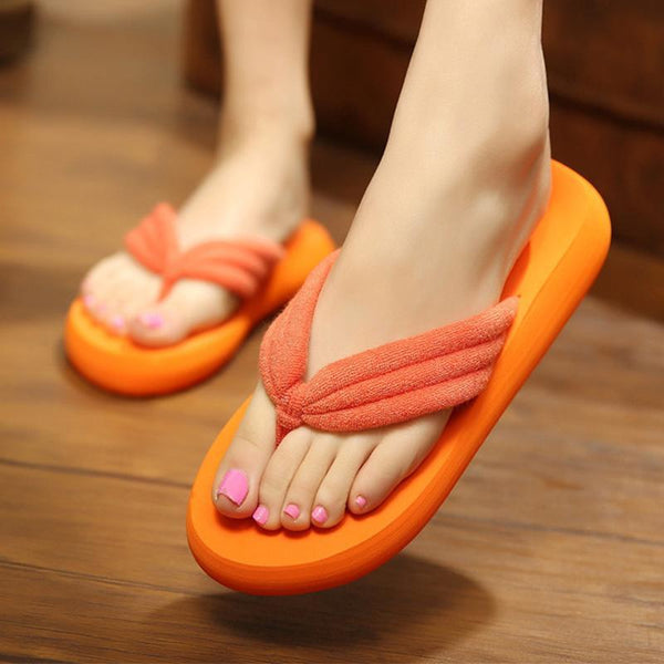 Pure Color Antiskid Summer Beach Slippers For Women - fashionshoeshouse