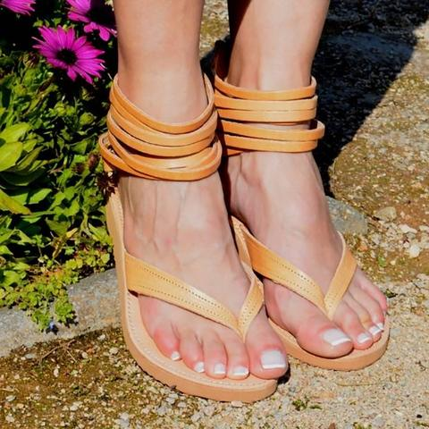 Back Zipper Ankle Strappy Flat Gladiator Sandals - fashionshoeshouse