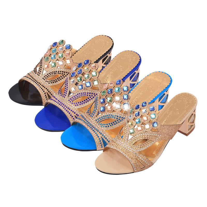 Rhinestone Chunky Heel Blue Summer Slippers For Women - fashionshoeshouse