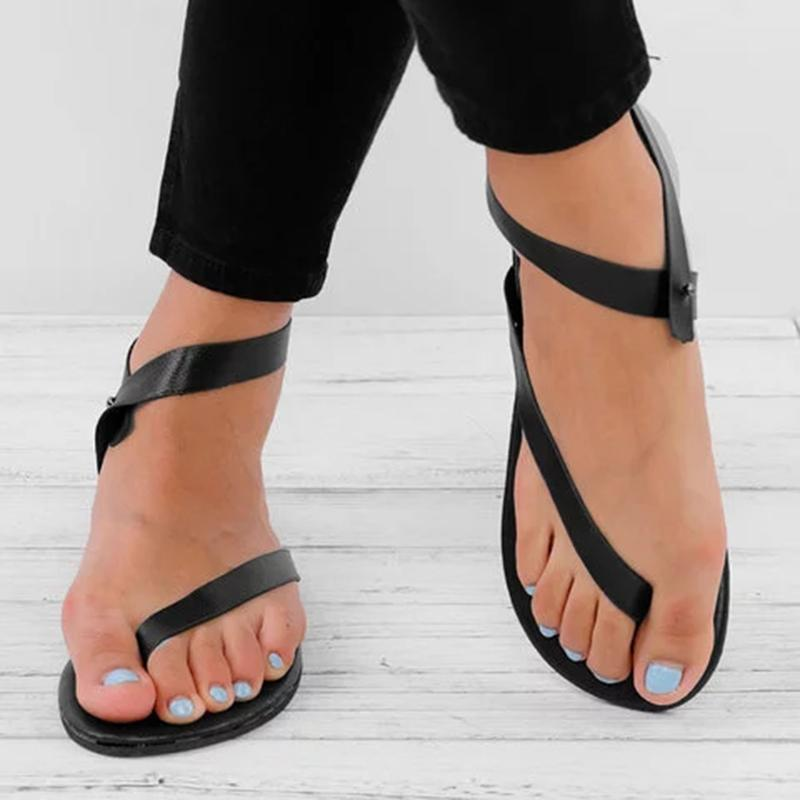 Women Ankle Wrap Strappy Flat Sandals - fashionshoeshouse