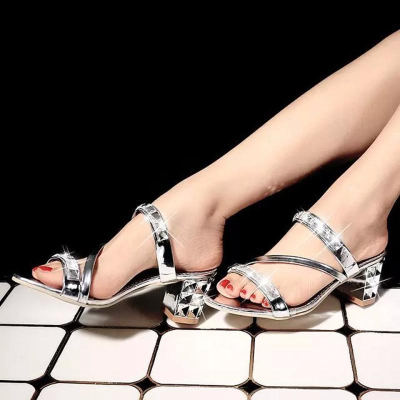 Shining Rhinestone Chunky Heel Silver Slippers For Women - fashionshoeshouse