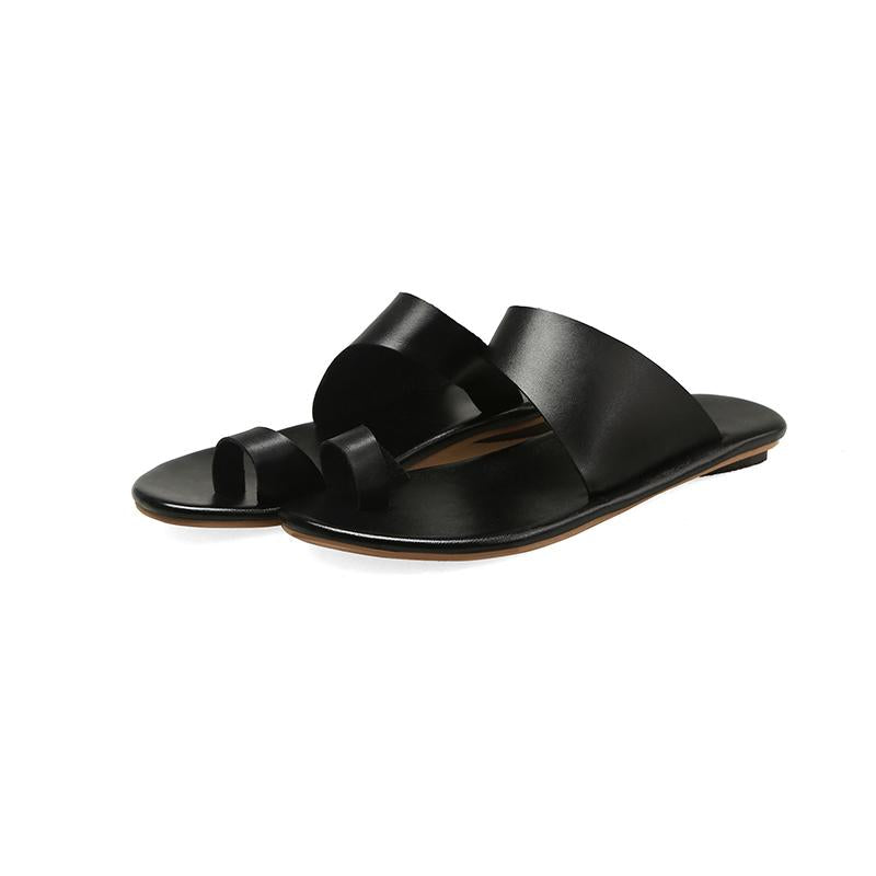 Slip On Clip Toe Flat Heel Sandals For Women - fashionshoeshouse