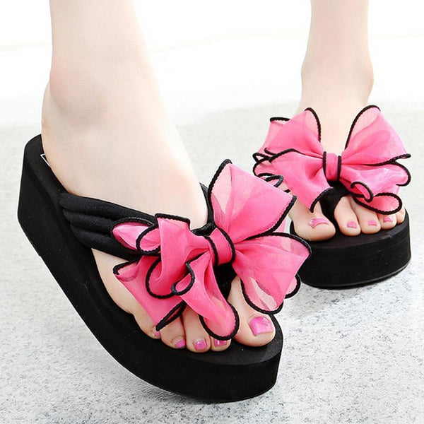 Soft Laces Rose Bowknot Comfortable Heel Slippers For Women - fashionshoeshouse
