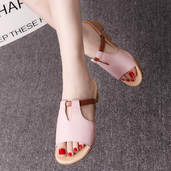 Soft Leather Rubber Outsole Pink Comfortable Slippers For Women - fashionshoeshouse