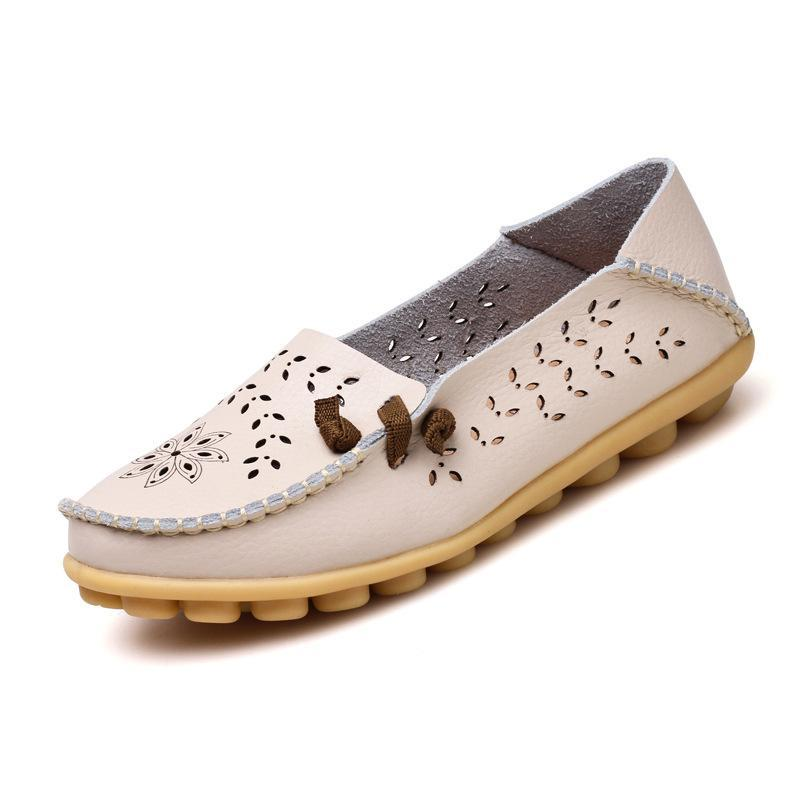 Driving Moccasins Silver Women Loafers with Soft Outsole for Walking - fashionshoeshouse