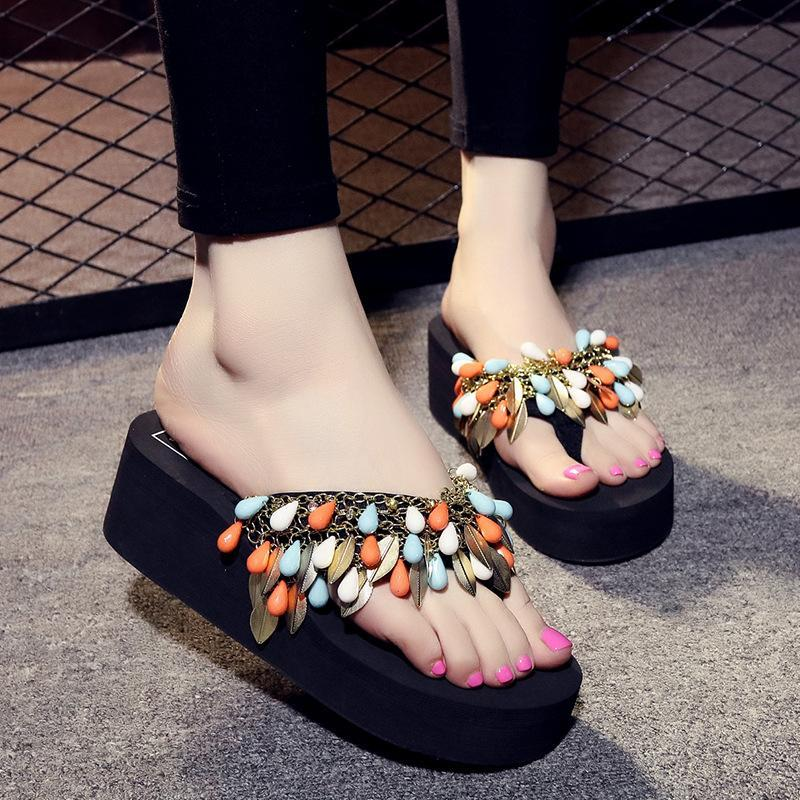 cute authorized site nice shoes Stylish Flip Flops Tassel Beads Pattern Lazy Summer Slippers for Ladies