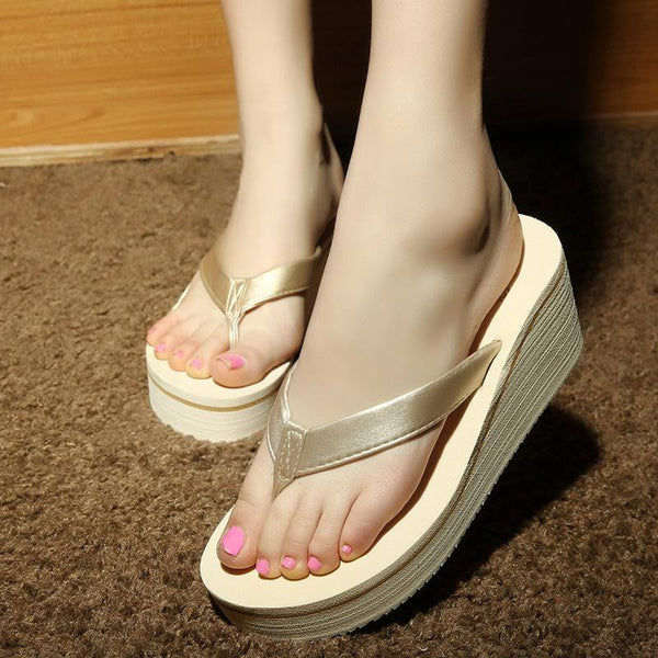 Summer Clip Toe Non-slip Slippers for Women Gold Slippers - fashionshoeshouse