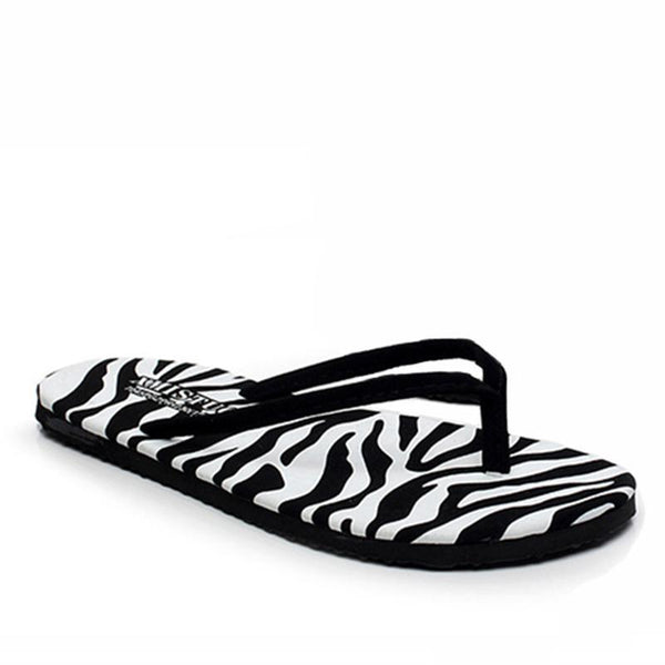 Summer Clip Toe Zebra Print Slippers for Women - fashionshoeshouse